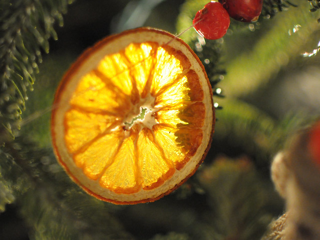 dried orange on christmas tree garland