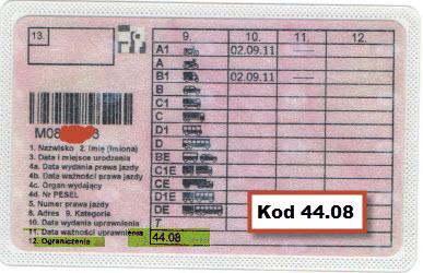 Kod 44 08 prawa jazdy