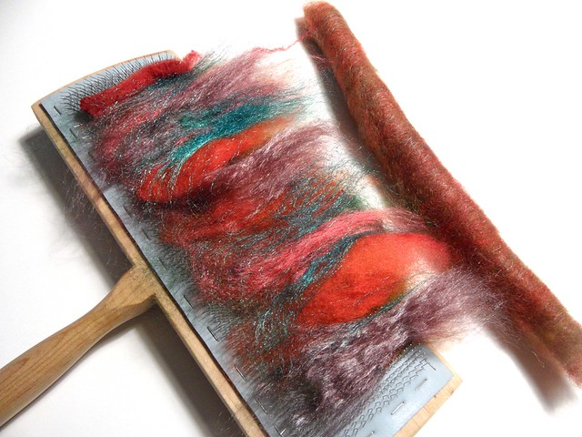 FCK-my birthday gift from Ginny-batt pack-2.6oz-Corriedale fleece, firestar, mohair locks, merino-tencel top, Tussah silk-carded-chain plied-140yds-10