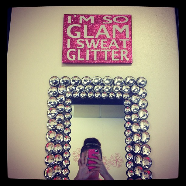I'm at the sparkliest, pinkest, girliest gym ever.