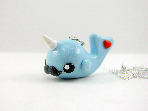 Cute narwhals with mustaches