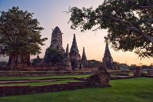 sunset sky tree architecture thailand temple twilight nikon dusk culture d3 worldheritage phranakhonsiayutthaya