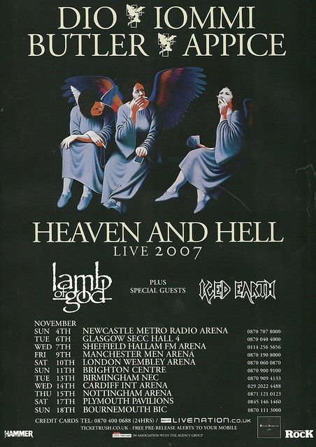 November 2007 Heaven & Hell/ Lamb Of God/ Iced Earth UK Tour