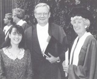 Three Pomona presidents on the steps of Little Bridges in September 1990: Andrea Venezia '91, president of the ASPC; President David Alexander; and Marilyn (Jones) Dale '54, president of the Alumni Association