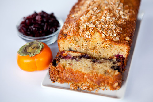 Homemade coconut oil mixed berry pound cake