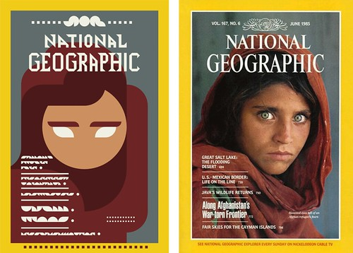 Side by Side - Iconic Magazine Cover #4 - Afghan Girl, National Geographic 1985 by omarrr