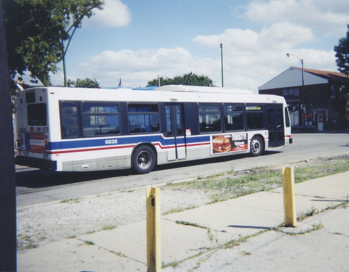 Eastbound Chicago Transit Authority Rt # 76 Diversey Avenue bus departing the west terminal.  Chicago Illinois. September 2002. by Eddie from Chicago
