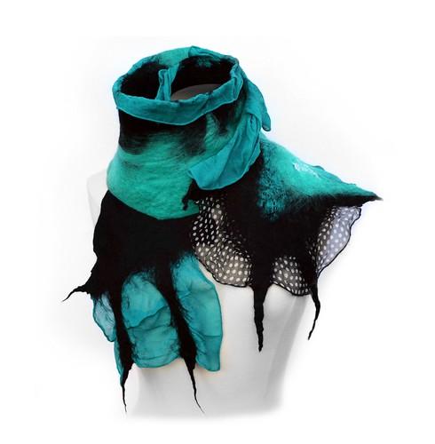 Turquoise and Black Handmade Nuno Felt Scarf