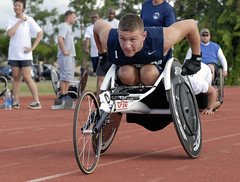 In this file photo, retired Master-at-Arms 3rd Class Nathan DeWalt warms up during track and field practice as part of the Wounded Warrior Pacific trials at Joint Base Pearl Harbor-Hicakm in November.  (U.S. Navy photo by Mass Communication Specialist 2nd Class Jon Dasbach)