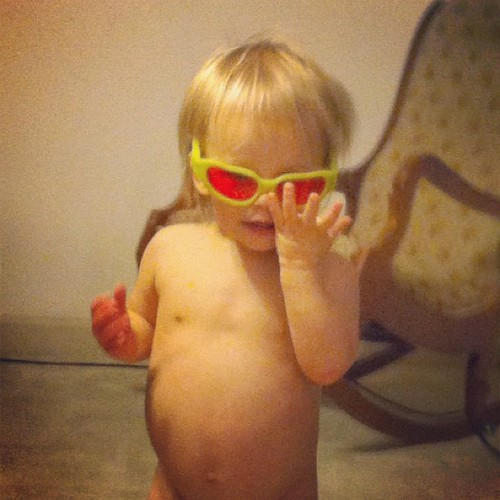 Sometimes a girl just needs to run around in her birthday suit and some 3D glasses. Don't judge.