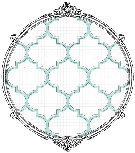 light turquoise large ML moroccan tile on  white paper SAMPLE
