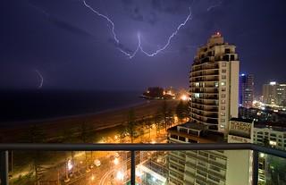 photo éclair orage Coolangatta prise de vue