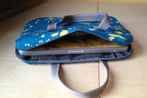 laptop bag in use