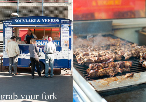 souvlaki van and bbq meats on the grill at dimitri's re:start mall christchurch