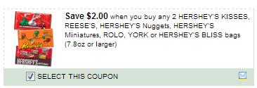 $2.00/2 Hersheys Kisses, Reeses, Hersheys Nuggets, Hersheys Miniatures, Rolo, York Or Hersheys Bliss Bags 7.8oz Or Larger Coupon
