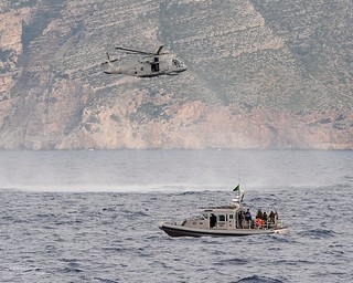 Royal Navy Merlin Helicopter with Albanian Patrol Boat