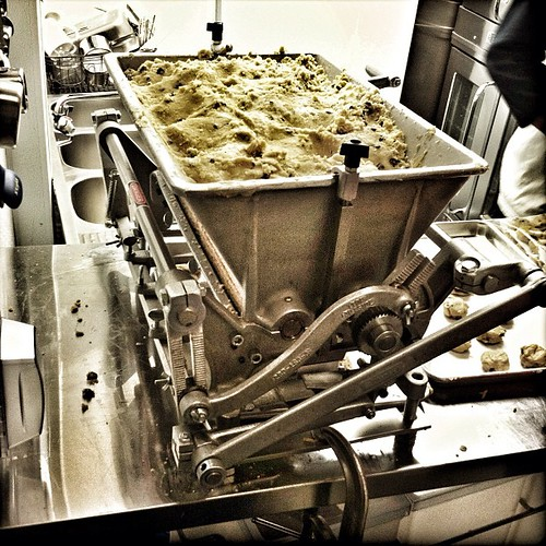 cookie depositing machine. behind the scenes at batch.