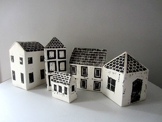 paper houses - 3d woodcut prints