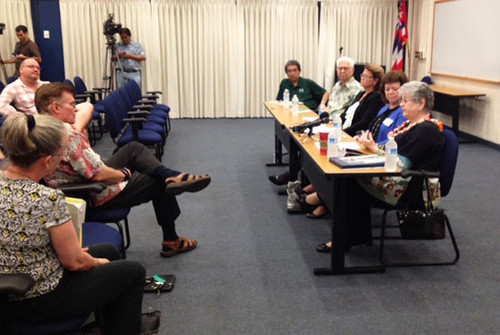 <p>At the UH community forum at Honolulu Community College are, from left, Board of Regents members James Lee and Chuck Gee, Honolulu Comunnity College Chancellor Erika Lacro and UH Executive VP for Academic Affairs Linda Johnsrud and UH President M.R.C. Greenwood.</p>