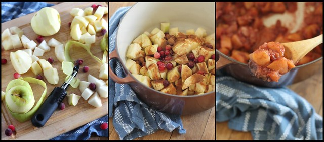 Quick and easy apple pear cranberry sauce