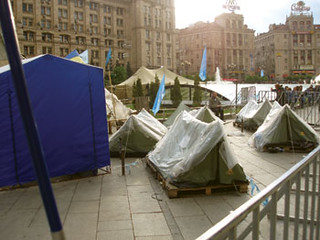 Party of Regions supporters set up camp on  Independence Square, Kyiv.