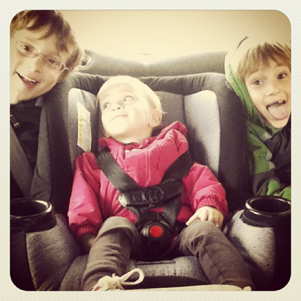 Running a couple of errands with my 3 crazies.
