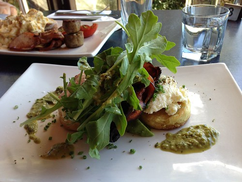 Crumpets served with crispy bacon, avocado and ricotta