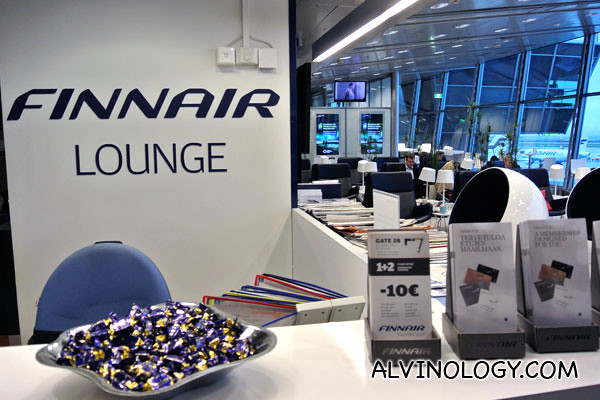 The lovely Finnair Lounge at Helsinki-Vaanta Airport
