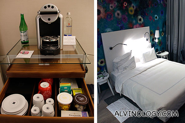Coffee machine and bed
