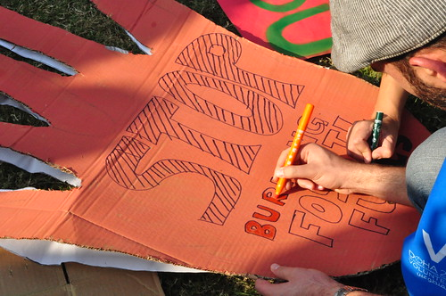 Banner making at Qatar's first ever rally against climate change