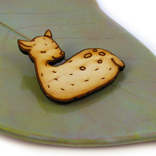 Sleeping Woodland Deer Wood Pin 1
