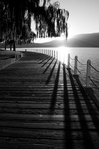 park wood trees sunset bw sun white mountain lake canada black mountains reflection tree water sunshine silhouette reflections landscape mono shadows bc path okanagan hill lakes scenic parks silhouettes sunsets hills sidewalk walkway valley boardwalk walkways paths kelowna railing railings sidewalks boardwalks shadown