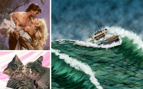 A collage of three pictures: A white couple embraces dramatically; two kittens nuzzle each other; and a tiny ship is tossed in a roiling ocean.