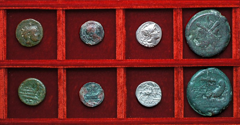 RRC 087 V bronzes, RRC 88 spearhead denarius and As, Ahala collection, coins of the Roman Republic