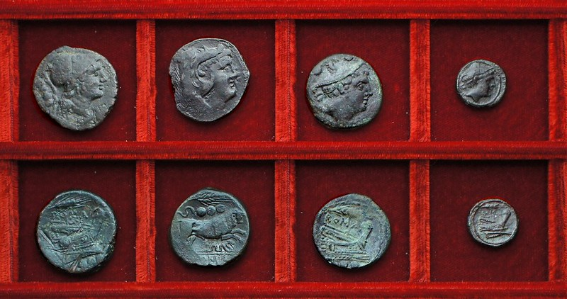 RRC 072 corn-ear bronzes, Ahala collection, coins of the Roman Republic