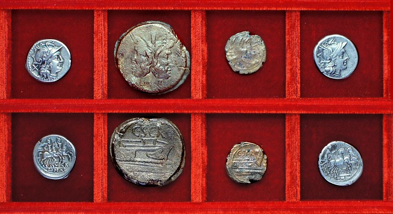 RRC 201 C.SCR Scribonia denarius and bronzes, RRC 202 C.TAL Juventia denarius, Ahala collection, coins of the Roman Republic