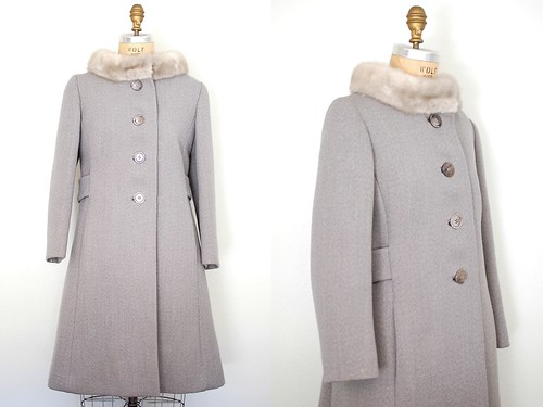 60s grey wool and mink coat