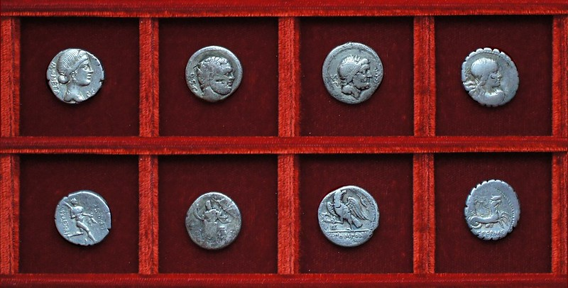 RRC 396, 71BC L.PLAETORI Plaetoria, RRC 397, 71BC P.LENT Cornelia, RRC 398, 70BC Q.POMPONI Pomponia, RRC 399, 69BC Q.CREPER Crepereia, Ahala collection, coins of the Roman Republic