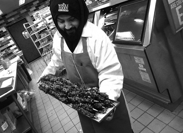 Mario with skewers at Whole Foods (2012)
