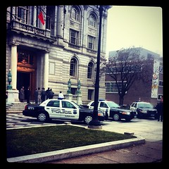 The police have sided with the Albanians and have fortified City Hall.