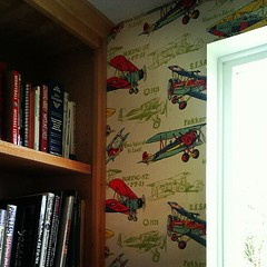 This awesome wallpaper was here when they moved in.