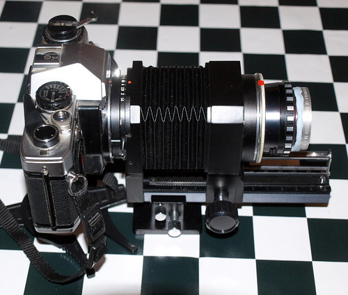 OM10 with bellows, Ysaron 90mm enlarger lens and telek lens