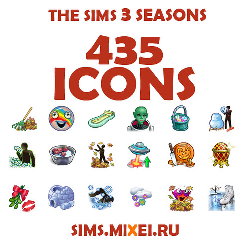 Sims 3 Seasons: 435 Game Icons by Sims Mixei ru | SimsVIP