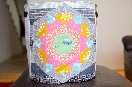 rose star fabric basket