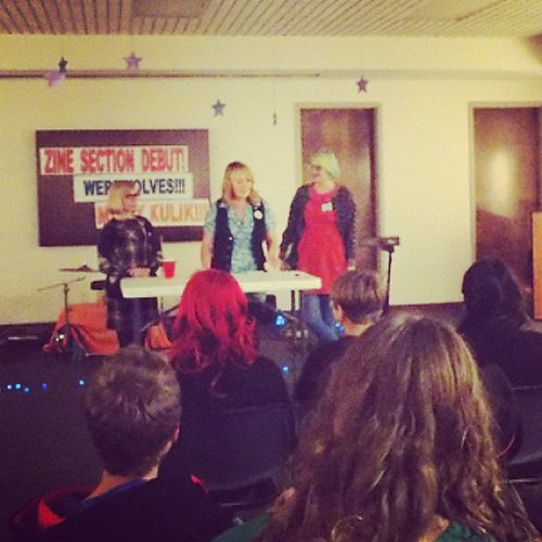 Me, Lonna, and Katy giving a talk about how we got into zines.
