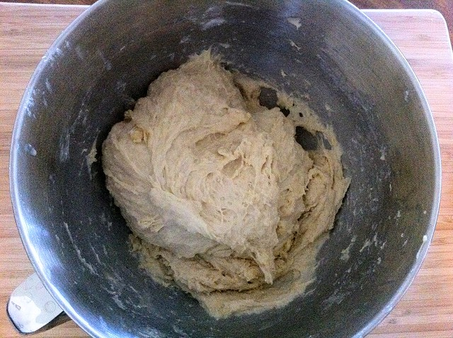 Remained Flour Mixed into Dough with Dough Hook