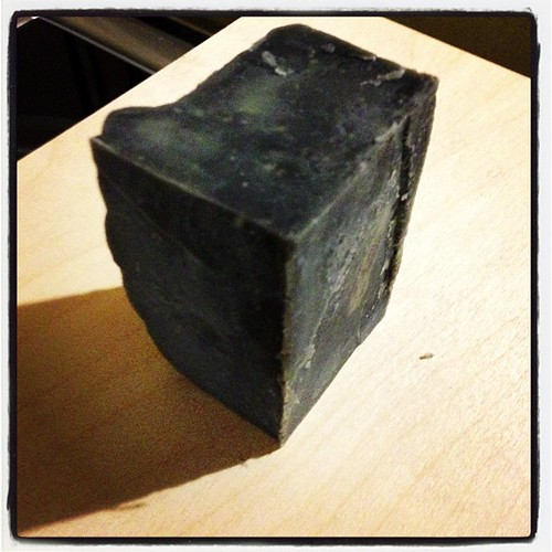 Activated charcoal cold process soap all cured!  Guess what people are getting for christmas... #soap