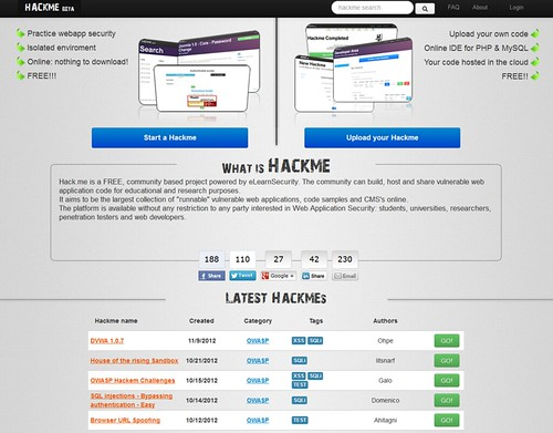 Hack.me - Build, Host & Share Vulnerable Web Apps