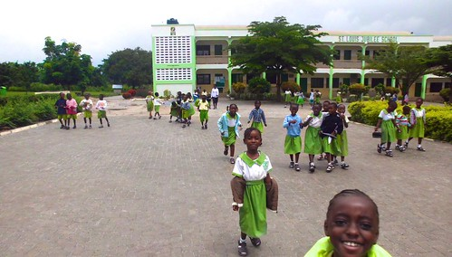 Primary School pupils at the end of the school day at St Louis Jubilee School, Kentinkrono, Ghana