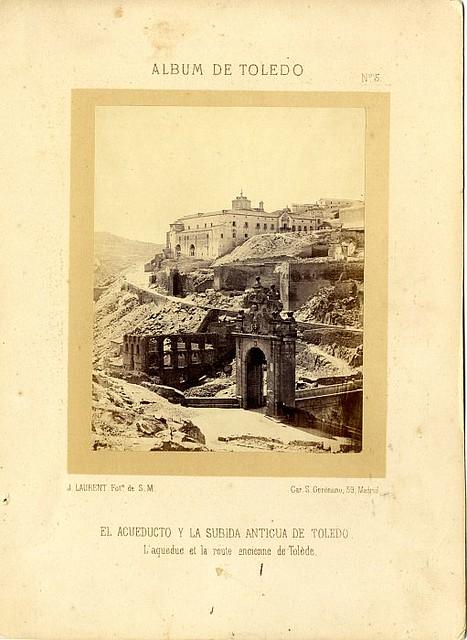 Artificio de Juanelo y Puente de Alcántara hacia 1865. Fotografía de Jean Laurent incluida en un álbum sobre Toledo © Archivo Municipal. Ayuntamiento de Toledo